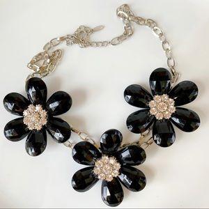 Black Flower Silver Tone Statement Necklace